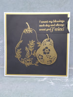 Single Blank Golden Pear Blessings Greeting Card