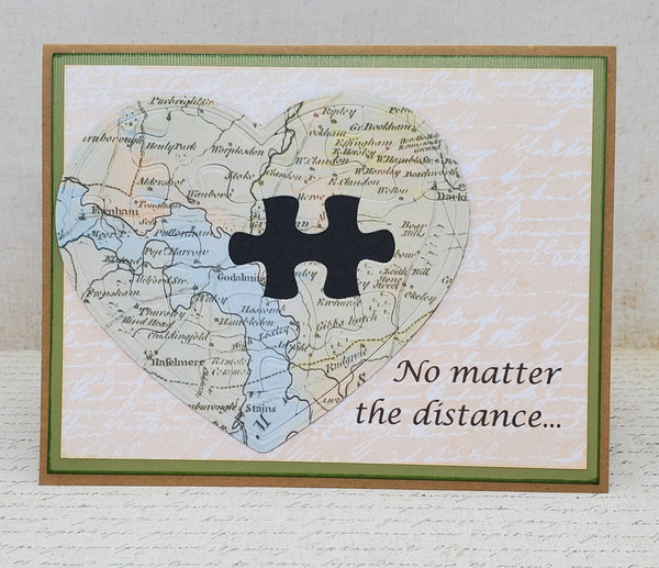 Single Long Distance Puzzle Greeting Card