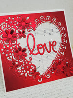 Single Red Satin Filigree Heart Love Card