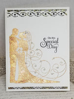 Single Golden Bride and Groom Wedding Card