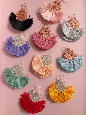 GDs signature Ballerina Tiny Dancer Earrings. Handmade Tutu Fringe Earrings. Vibrant colours to accessorise your outfit!