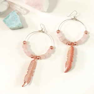Crystal Love Collection - Rose Quartz Feather