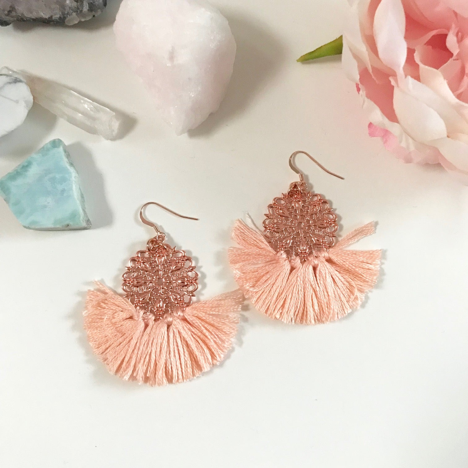 Ballerina Baby Fringe Earrings - Peach Nude