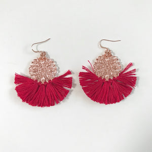 Ballerina Baby Fringe Earrings - Fiesta Red