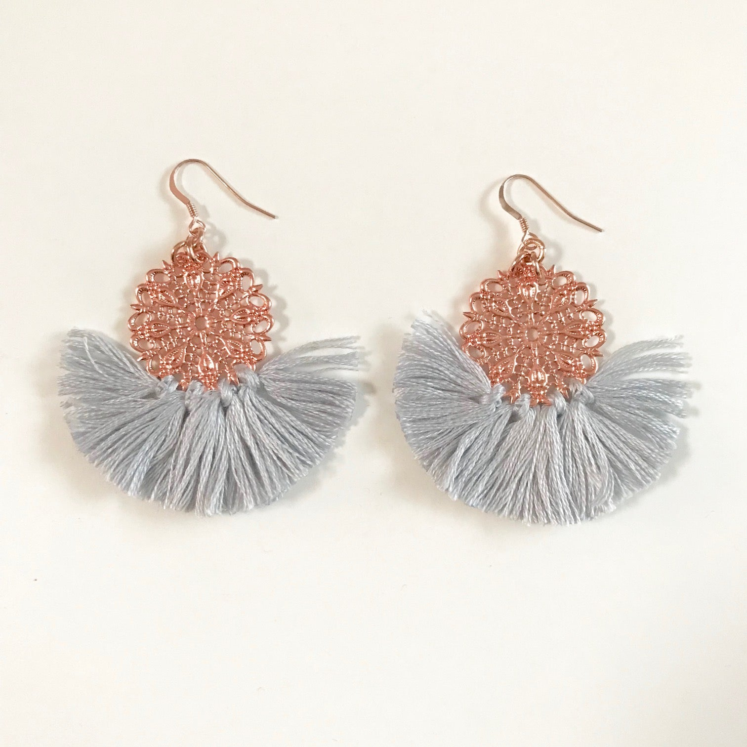 Ballerina Baby Fringe Earrings - Sky Gray