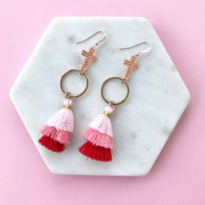 Gotta Have Faith Cross Tassel Earrings - Pink and Red Love