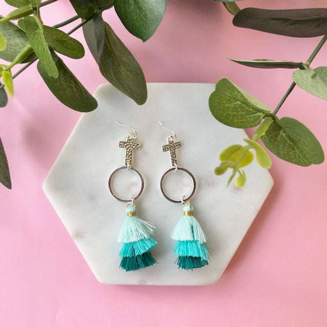 Gotta Have Faith Cross Tassel Earrings - Green With Envy