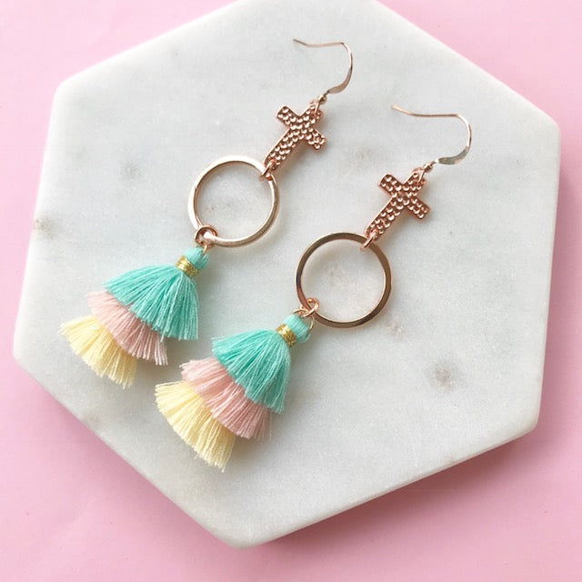 Gotta Have Faith Cross Tassel Earrings - Fruit Tingle