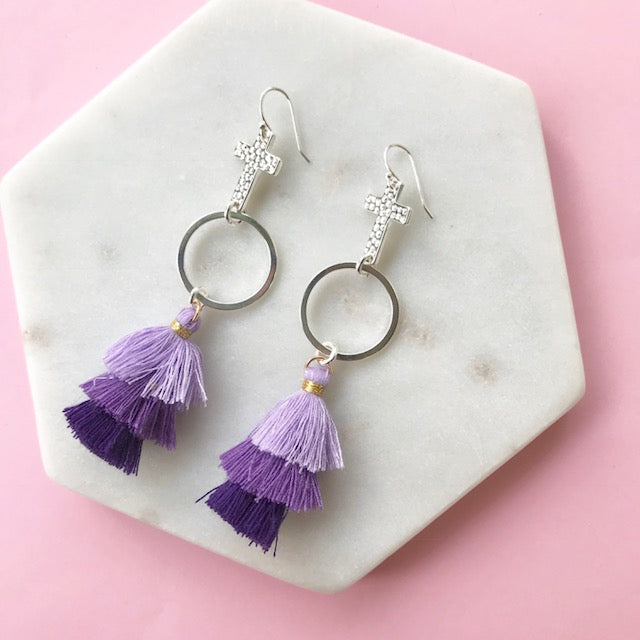 Gotta Have Faith Cross Tassel Earrings - Purple Royal