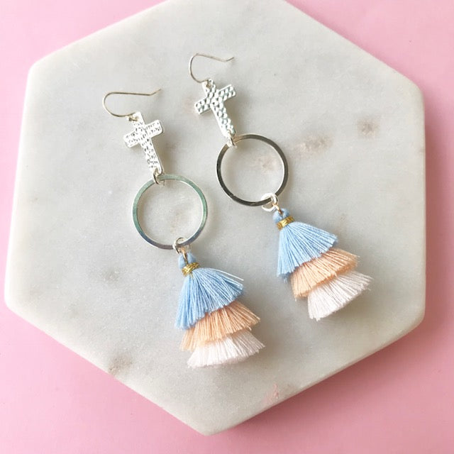Gotta Have Faith Cross Tassel Earrings - Noosa Neutrals