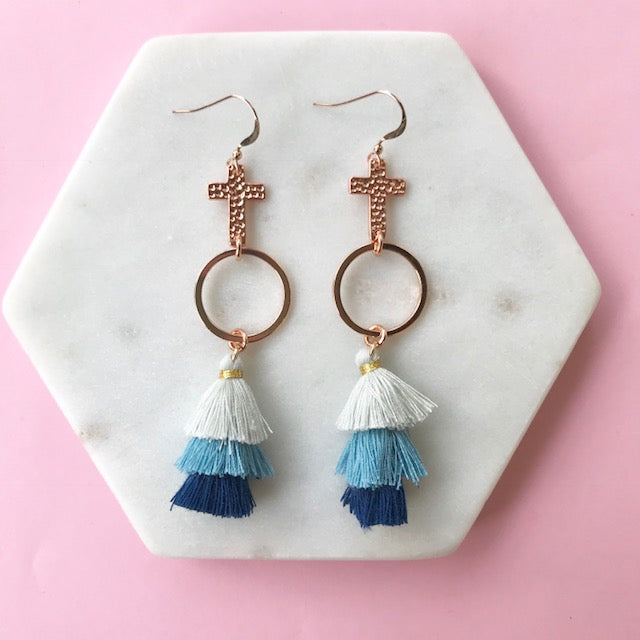 Gotta Have Faith Cross Tassel Earrings - Denim Days