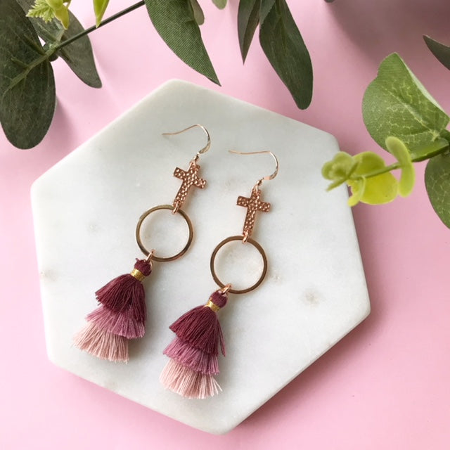 Gotta Have Faith Cross Tassel Earrings - Burgundy Blush