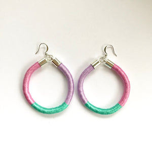 Disco Diva - Candy Pink/Mint Green/Lilac Colour Block Hoop Earrings
