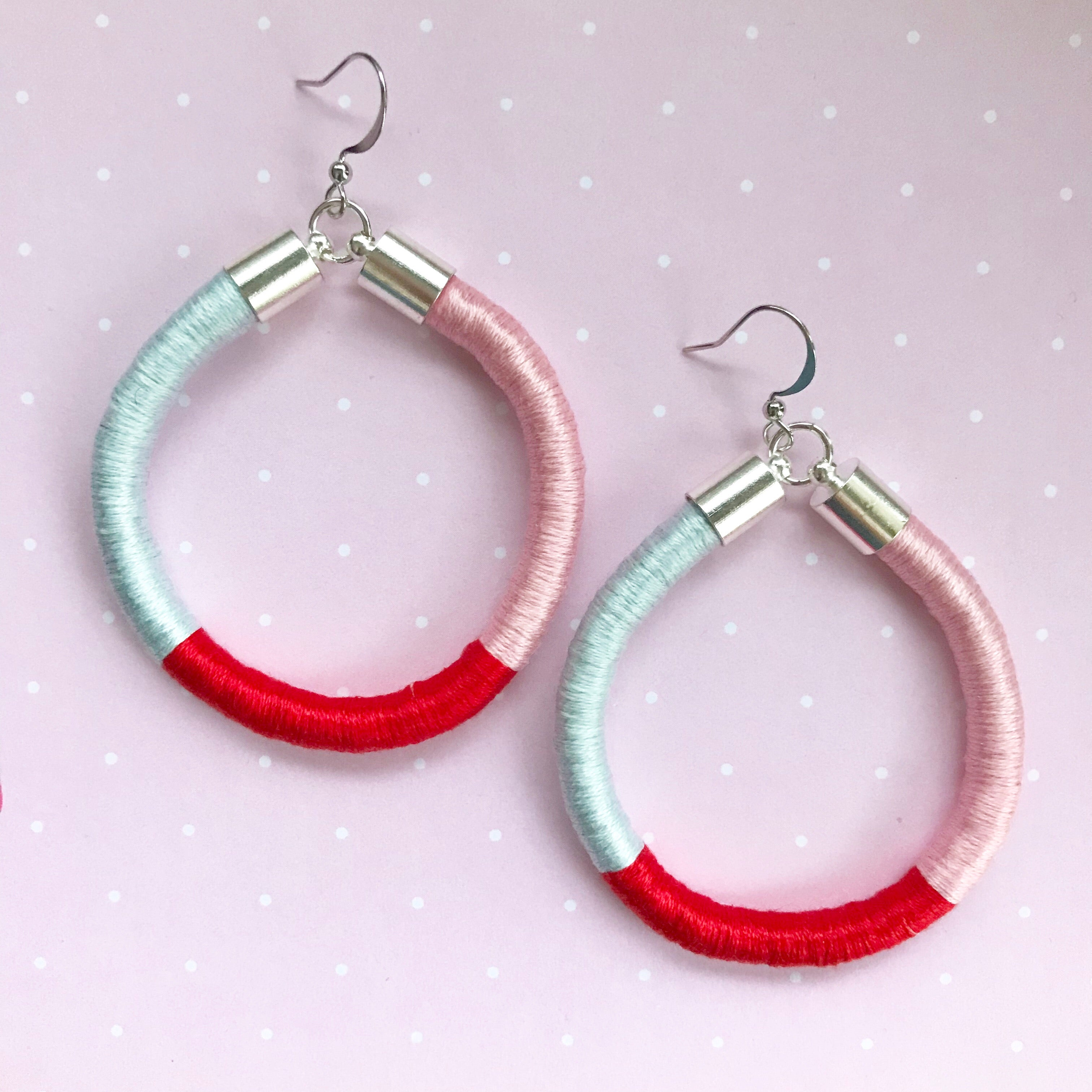 Disco Diva - Serenity Blue/Vivid Red/Baby Pink Colour Block Hoop Earrings