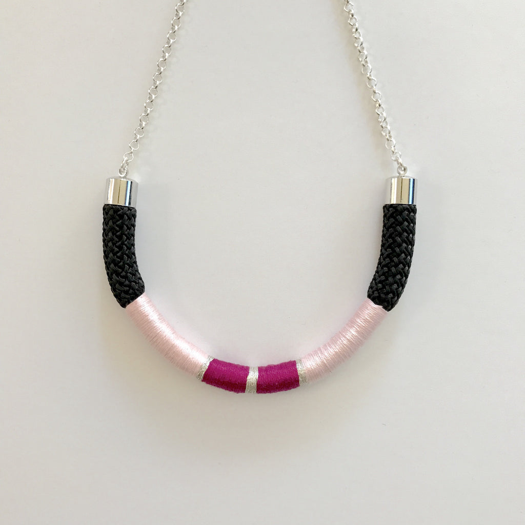 Live Bright Cord Necklace - Blush/Black/Magenta
