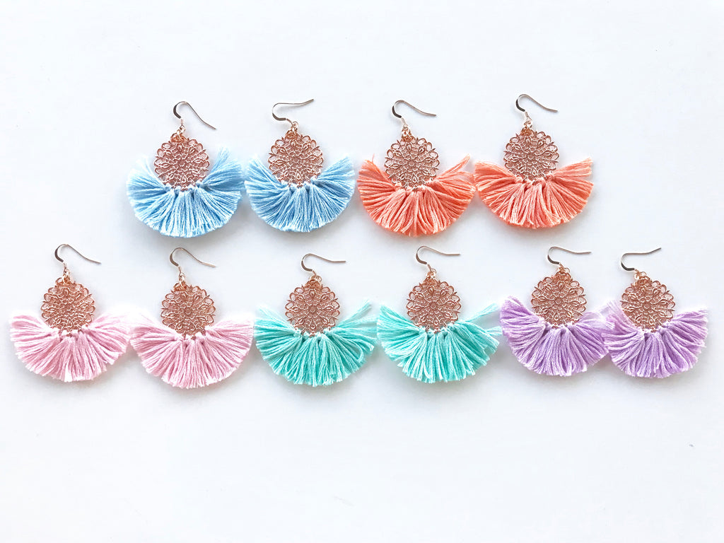 Ballerina Baby Fringe Earrings - Rose Gold Pastel Edit