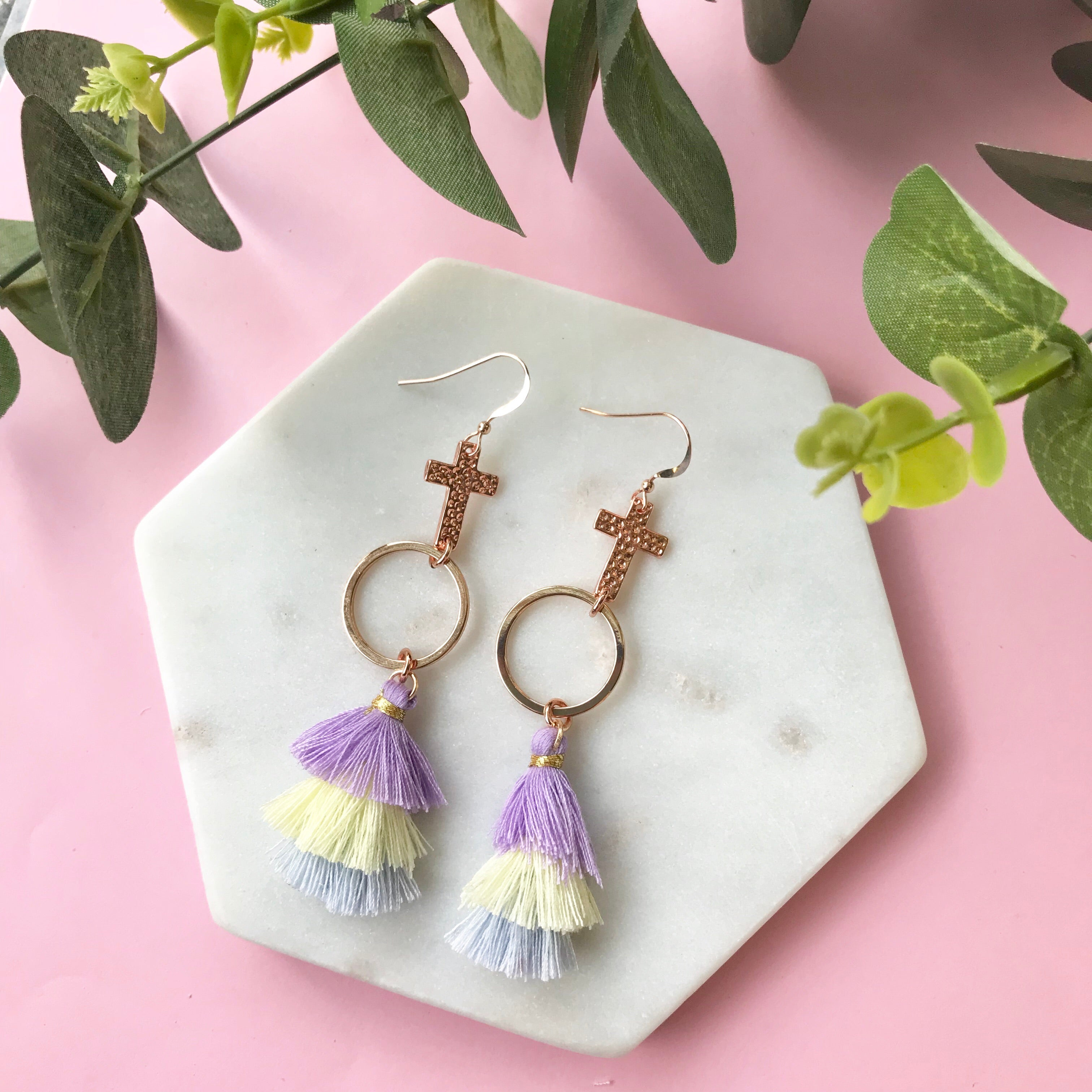 Gotta Have Faith Cross Tassel Earrings - Banana Split