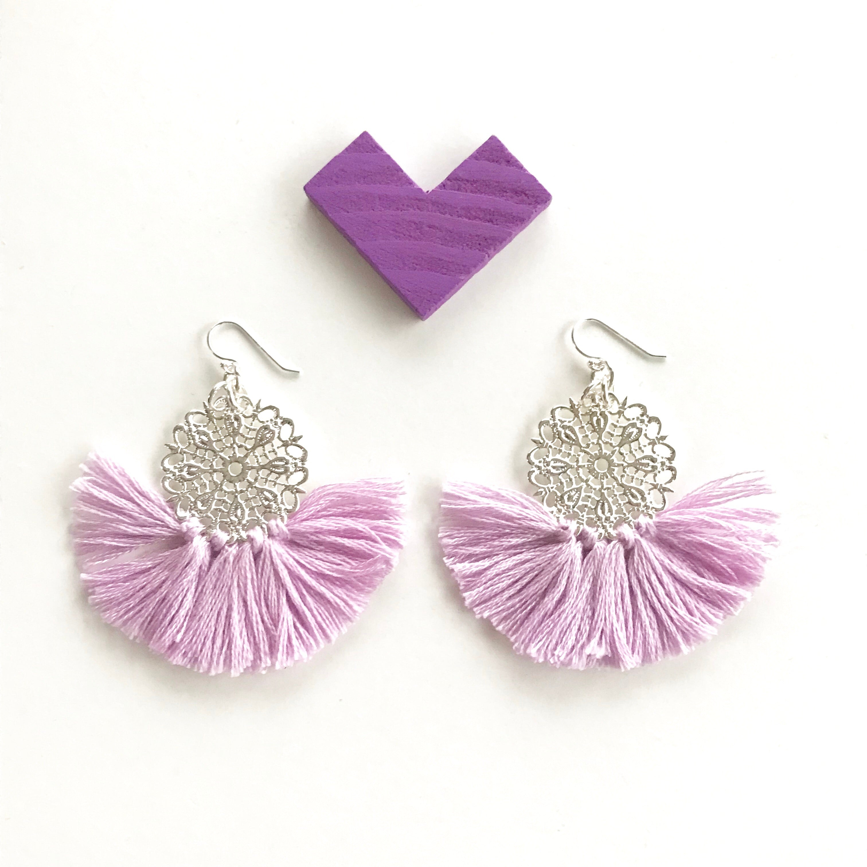 Ballerina Baby Fringe Earrings - Lilac