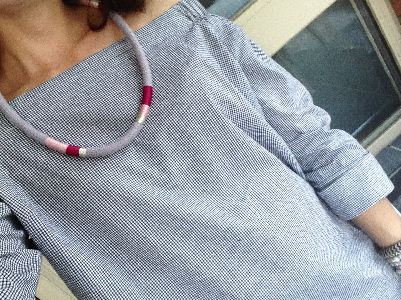 Luxe Romance Cord Necklace - Grey Blush Magenta