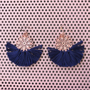 Ballerina Baby Fringe Earrings - Navy