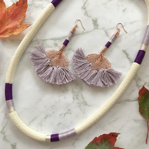 Luxe Romance Cord Necklace - Purple