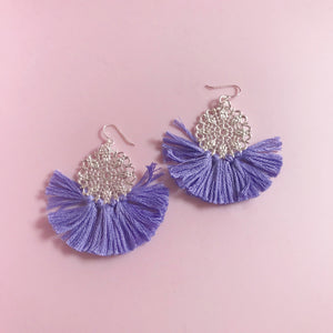 Ballerina Baby Fringe Earrings - Violet