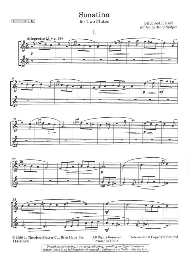 Sonatina (Two Flutes)