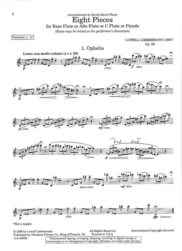 Eight Pieces, Op. 59 (Flute Alone)