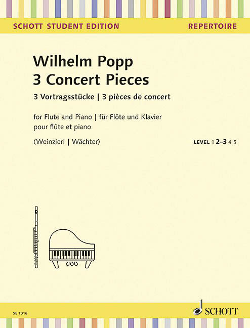 3 Concert Pieces - Schott Student Edition Repertoire Level 2-3 (Flute and Piano)
