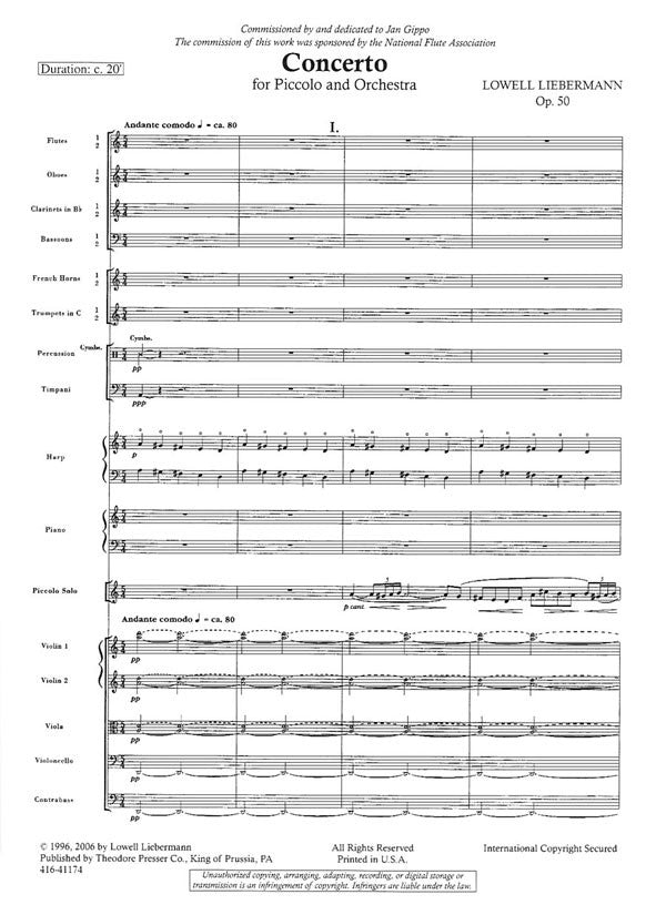 Concerto for Piccolo and Orchestra, Op. 50 (Full Score)
