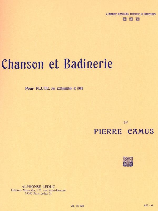 Chanson Et Badinerie (Flute and Piano)
