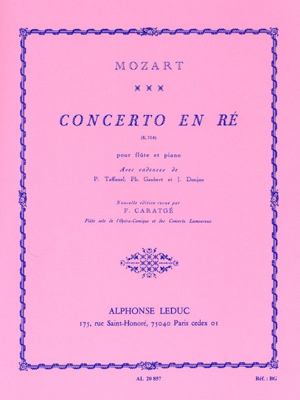 Concerto No. 2 in D Major, K314 (Flute and Piano)