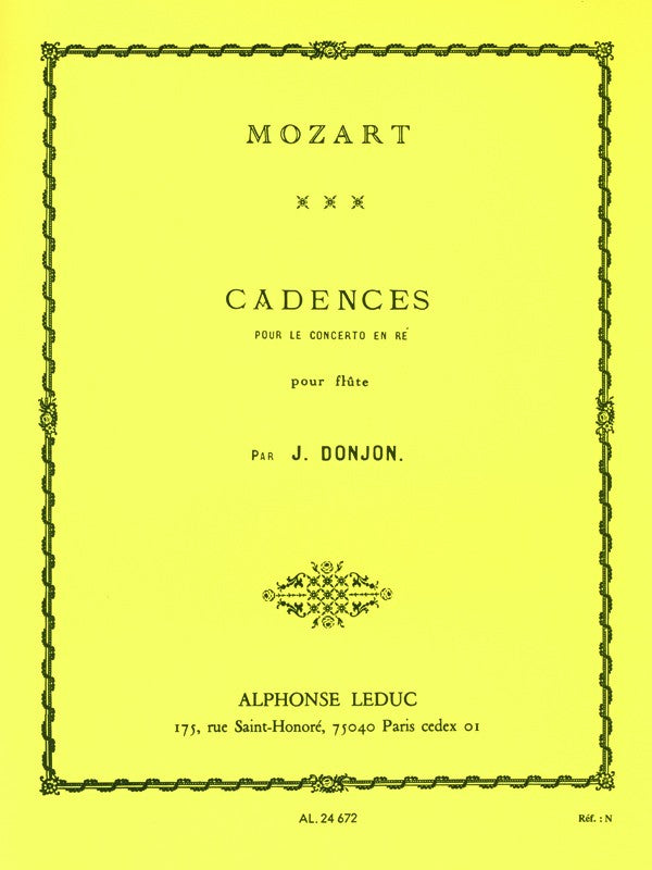 Johannes Donjon: Cadences for Mozart's Concerto in D