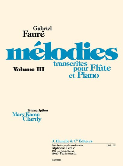 Melodies Transcribed for Flute and Piano Volume 3