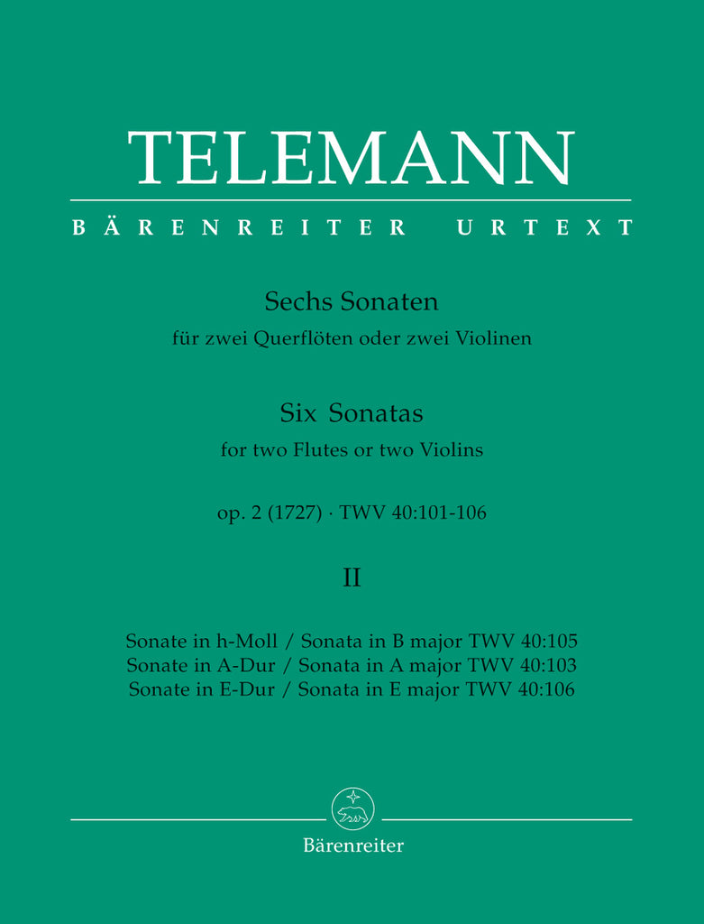 Six Sonatas Volume 2, TWV 40:103, 105, 106 (Two Flutes)