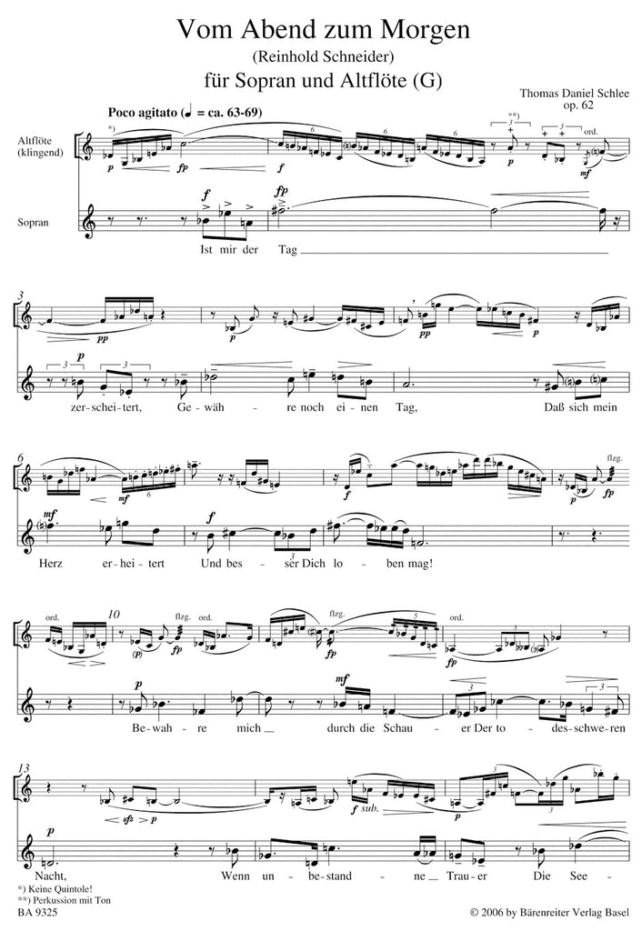 From Evening to Morning for Soprano and Alto Flute op. 62
