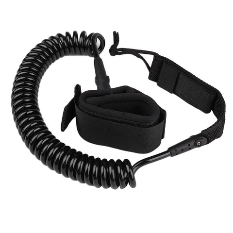 Surf Board Coiled 10 Foot Long  Strap Kit Leash With Wrist Ankle Safety Swivel Leash - Black