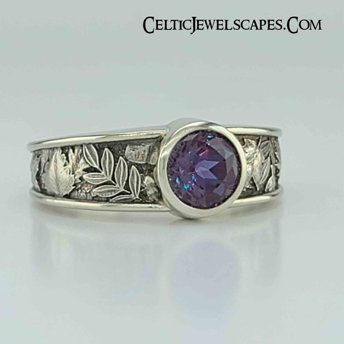 AUTUMN LEAVES TAPERED with Alexandrite - 14KT $1399 Sterling $559