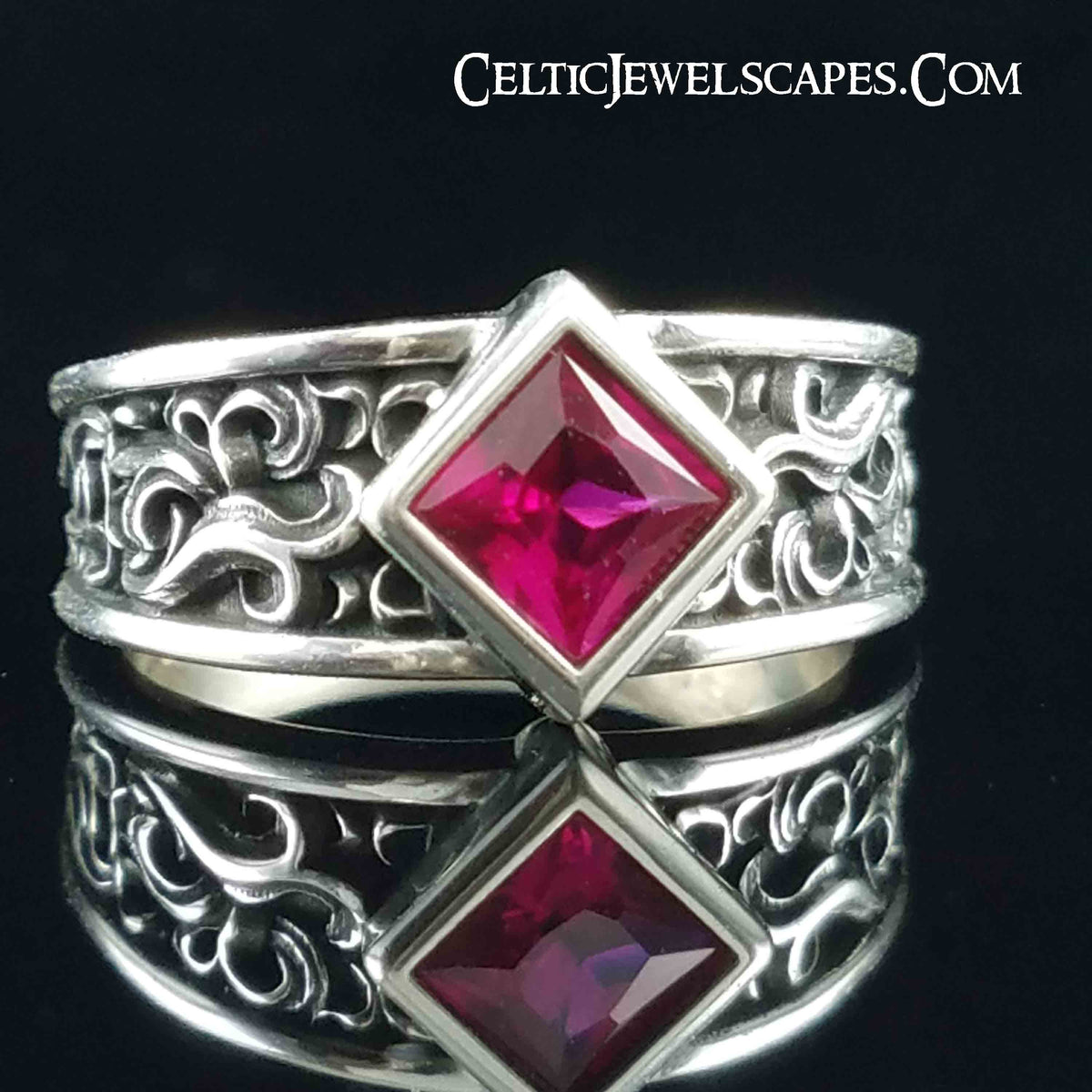 Special Order for L. B.-P. - Cascade Tapered in silver-5mm square ruby set on bias