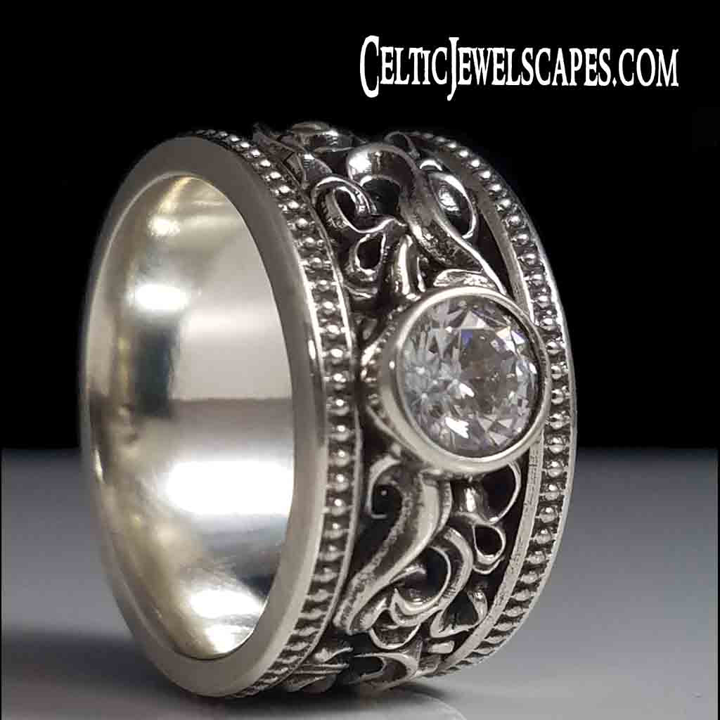 CASCADE BEADED SOLITAIRE with .40 CT Moissanite - Sterling $409 14KT $1499 - Celtic Jewelscapes