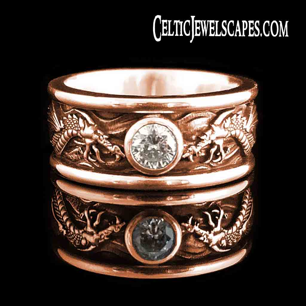 DRACO Solitaire with 1/2 Carat Diamond in Antiqued Sterling Silver $1709 or 14KT Gold $2799 - Celtic Jewelscapes
