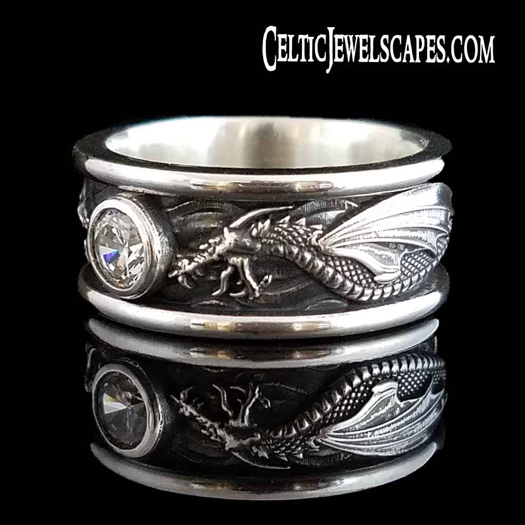 DRACO Solitaire with 1/2 Carat Cubic Zirconia in Antiqued Sterling Silver $259 or 14KT Gold $1349 - Celtic Jewelscapes