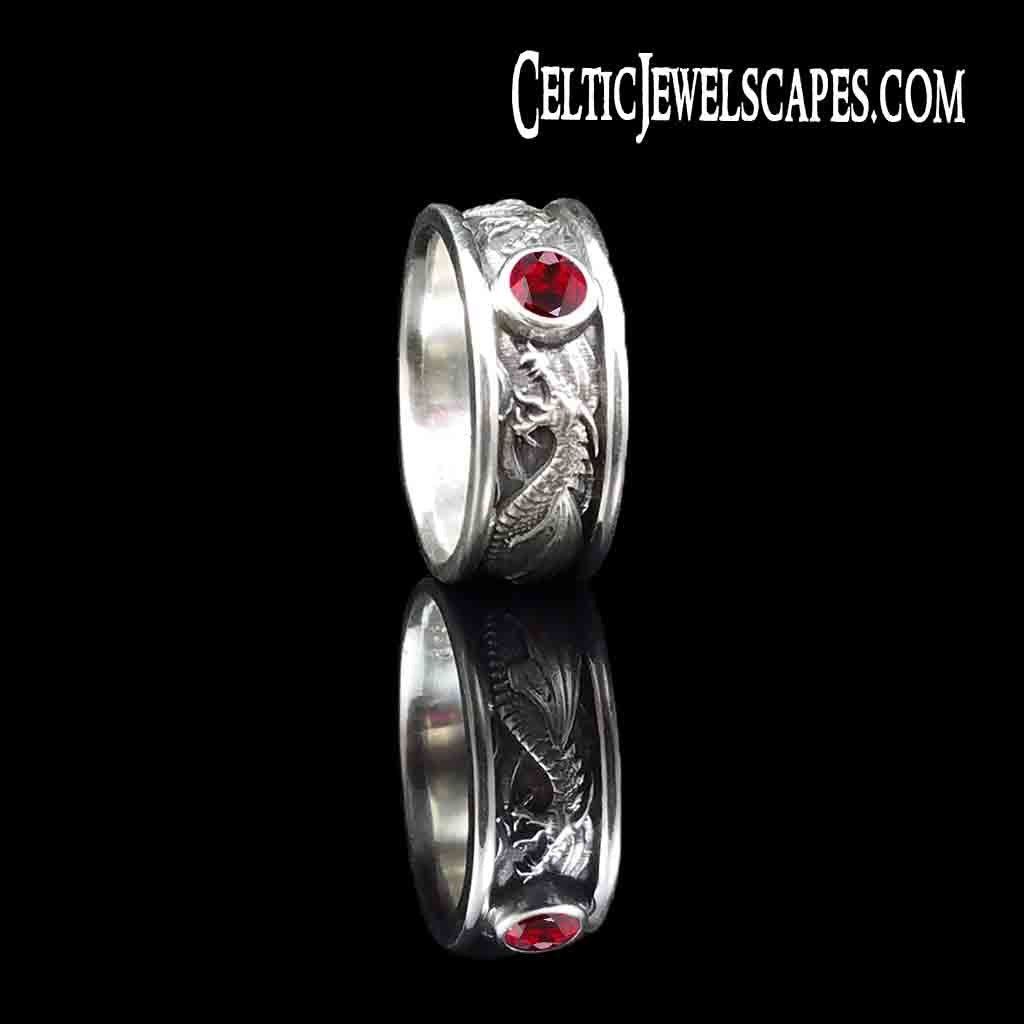 DRACO Solitaire with 1/2 Carat Chatham Ruby in Antiqued Sterling Silver $399 or 14KT Gold $1489 - Celtic Jewelscapes