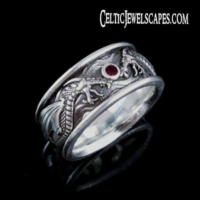 DRACO Band with 3mm Natural Ruby - SS $320 14KT $1399 - Celtic Jewelscapes