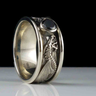 DRACO Solitaire with 1CT Black Diamond in Antiqued Sterling Silver $499 or 14KT Gold $1599 - Celtic Jewelscapes