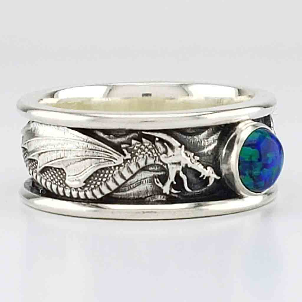 DRACO Solitaire with 6mm Lab Grown Black Opal - 14KT $1449 Sterling $259