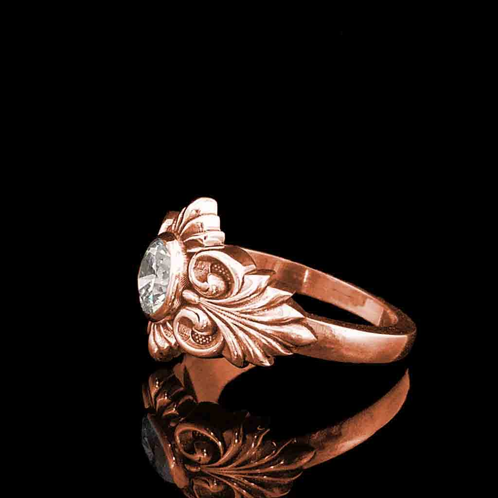 EQUINOX Solitaire in 14KT Rose Gold from $999 - Celtic Jewelscapes