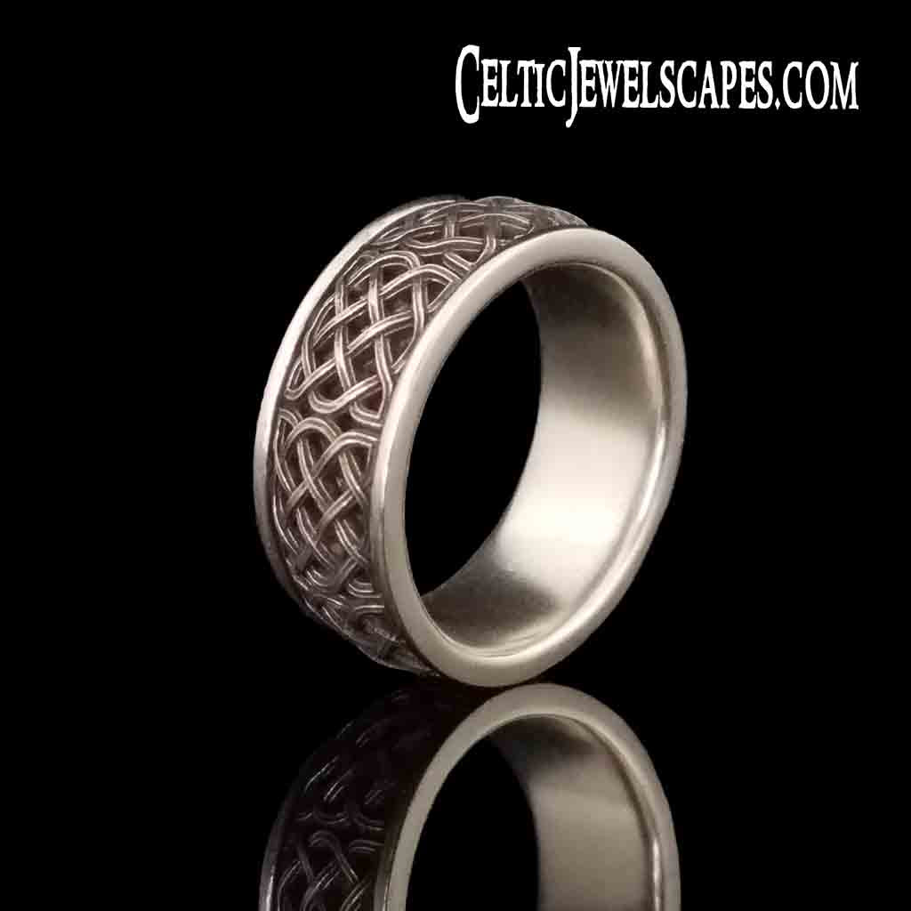 LACHLAN Band in Antiqued Sterling Silver $199 or 14KT Gold $999 - Celtic Jewelscapes