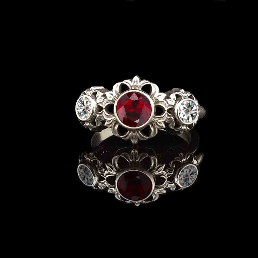 MEDICI Solitaire in 14KT Gold with 3/4 CT Garnet - $899 - Celtic Jewelscapes