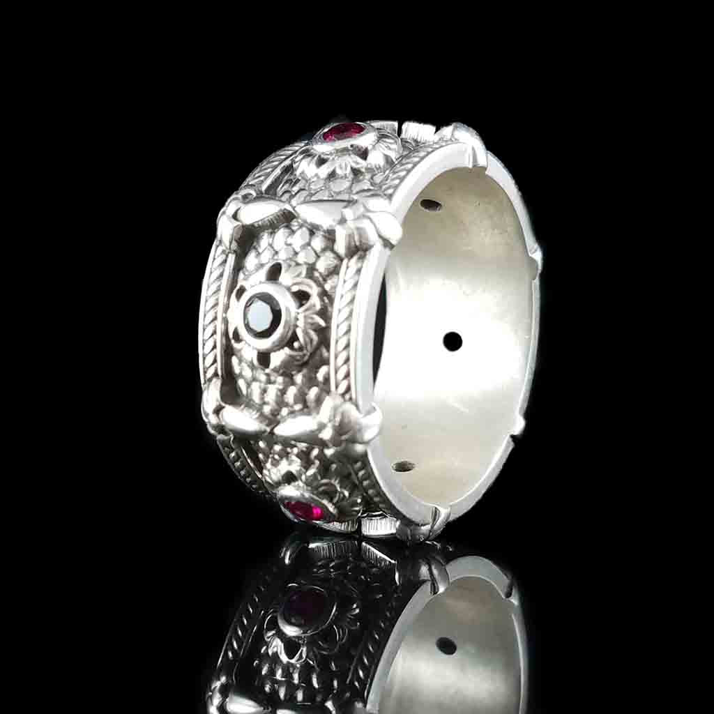 RELIC OF THE DRAGON LORD 3mm Rubies & Black Diamonds or Spinels - Silver & Spinels $349 or 14KT & Diamonds $2099